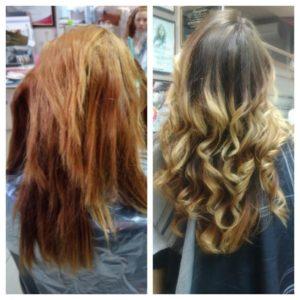 Была смывка в домашних условиях (волосы убиты). С помощью техники OMBRE изменен цвет, а процедура REVIVE вернула волосам блеск, эластичность и жизнь